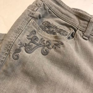 Chico's Platinum Jeans With Embroidered Detail